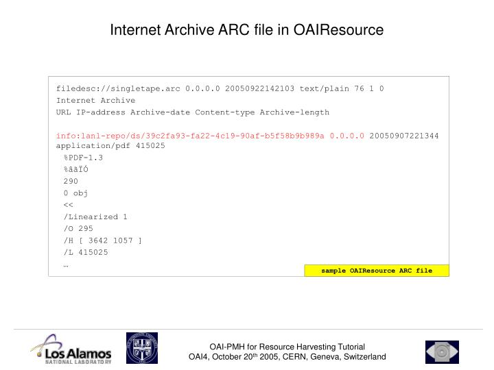 Internet Archive ARC file in OAIResource