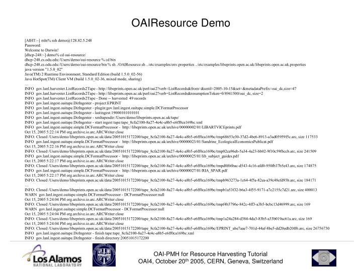 OAIResource Demo