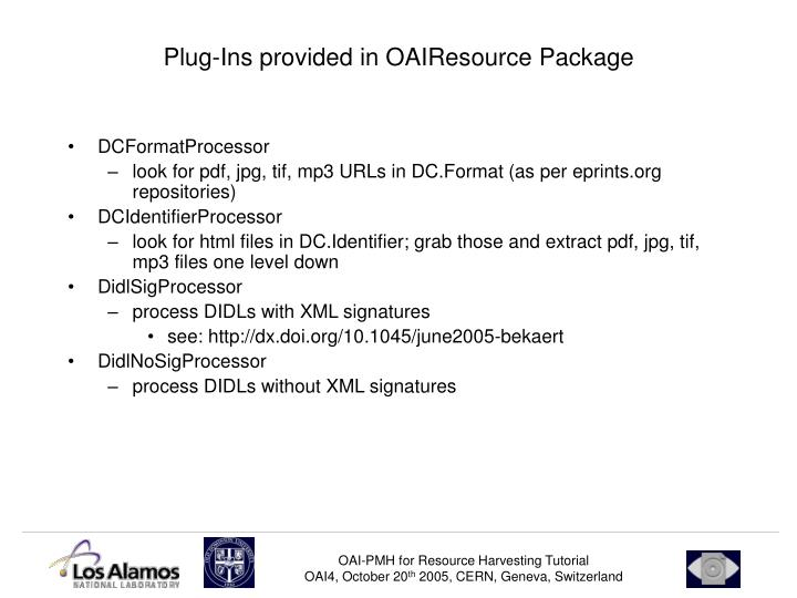 Plug-Ins provided in OAIResource Package