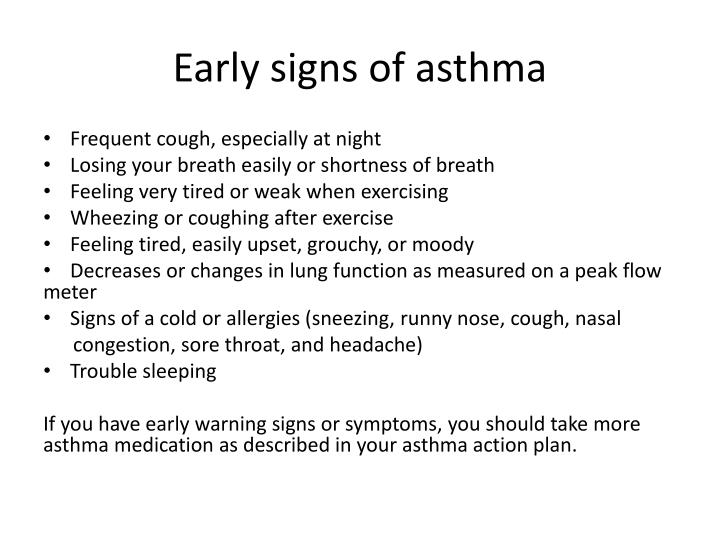 Early signs of asthma