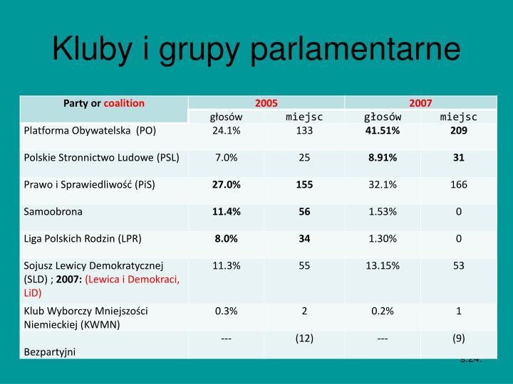 Kluby i grupy parlamentarne