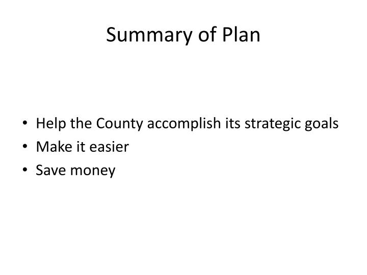 Summary of Plan