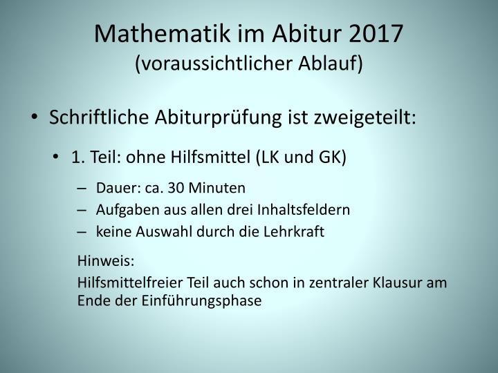 Mathematik im Abitur 2017