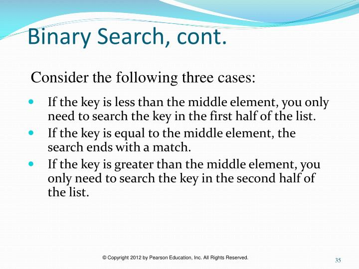 Binary Search, cont.