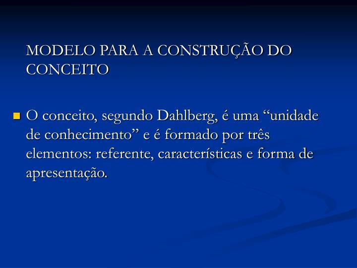 MODELO PARA A CONSTRUÇÃO DO CONCEITO
