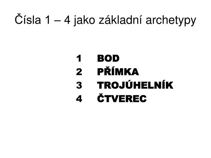 Čísla 1 – 4 jako základní archetypy