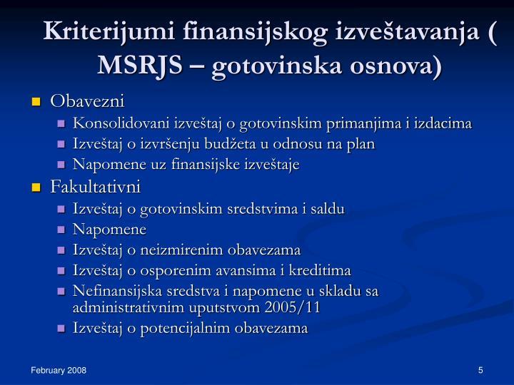 Kriterijumi finansijskog izveštavanja