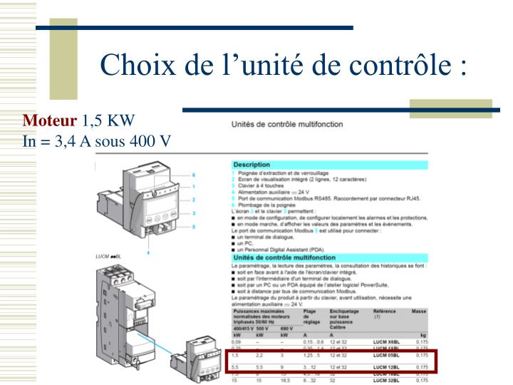 Choix de l'unité de contrôle :