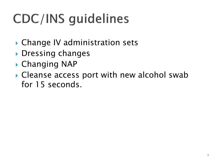CDC/INS guidelines