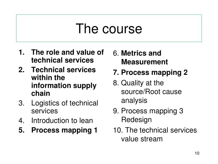The role and value of technical services