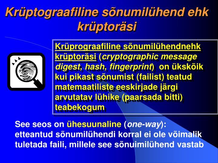 Krüptograafiline sõnumilühend ehk krüptoräsi