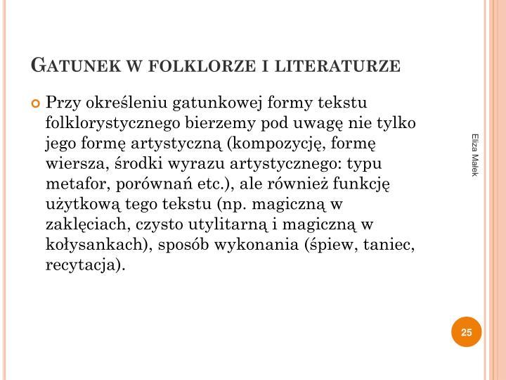 Gatunek w folklorze i literaturze