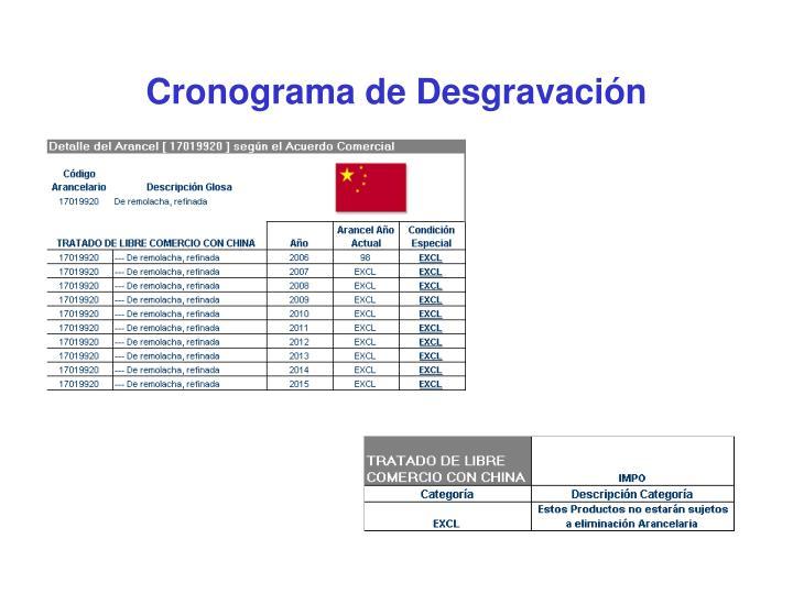 Cronograma de Desgravación