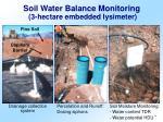 soil water balance monitoring 3 hectare embedded lysimeter