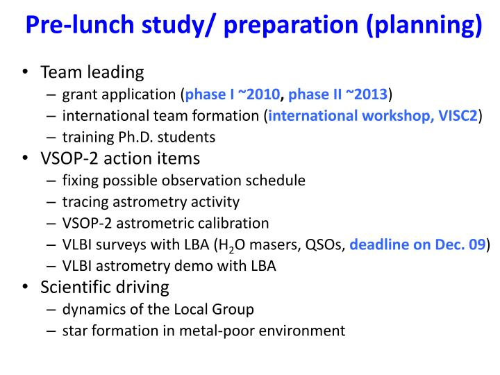 Pre-lunch study/ preparation (planning)