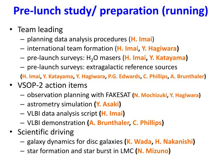 Pre-lunch study/ preparation (running)