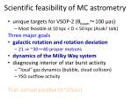 scientific feasibility of mc astrometry