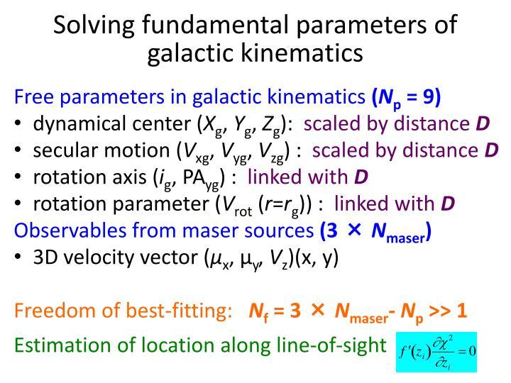 Solving fundamental parameters of galactic kinematics