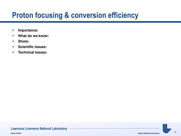 Proton focusing & conversion efficiency