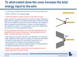 to what extent does the cone increase the total energy input to the wire