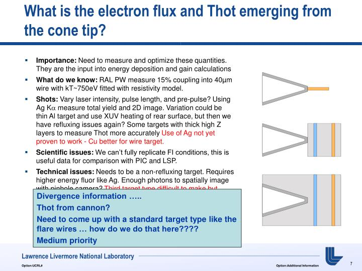 What is the electron flux and Thot emerging from the cone tip?
