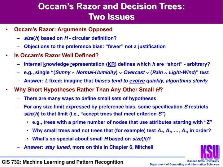 Occam's Razor and Decision Trees: