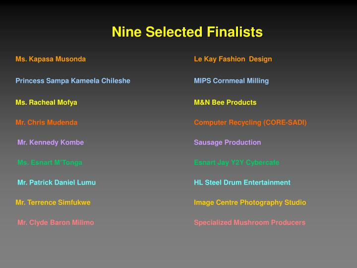 Nine Selected Finalists