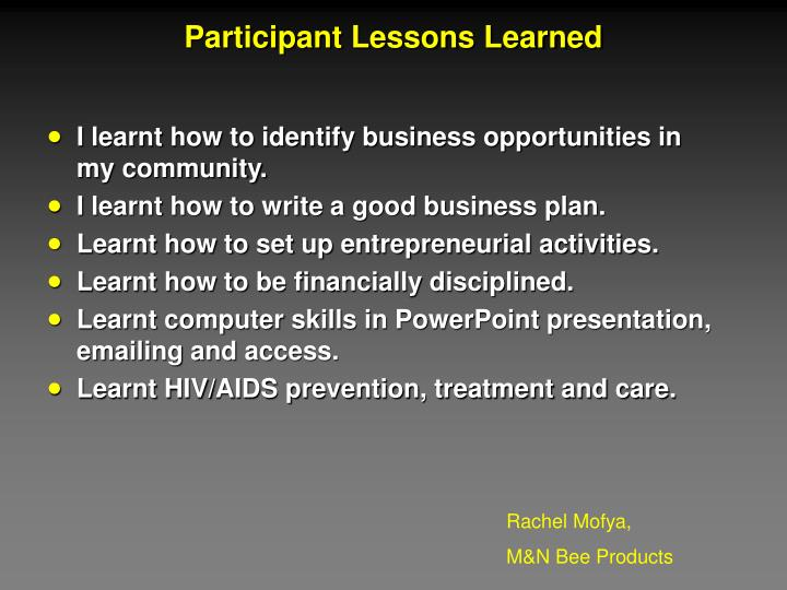 Participant Lessons Learned