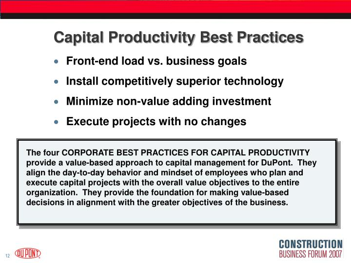 Capital Productivity Best Practices