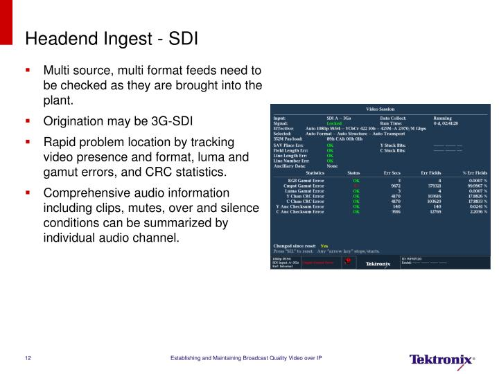 Headend Ingest - SDI