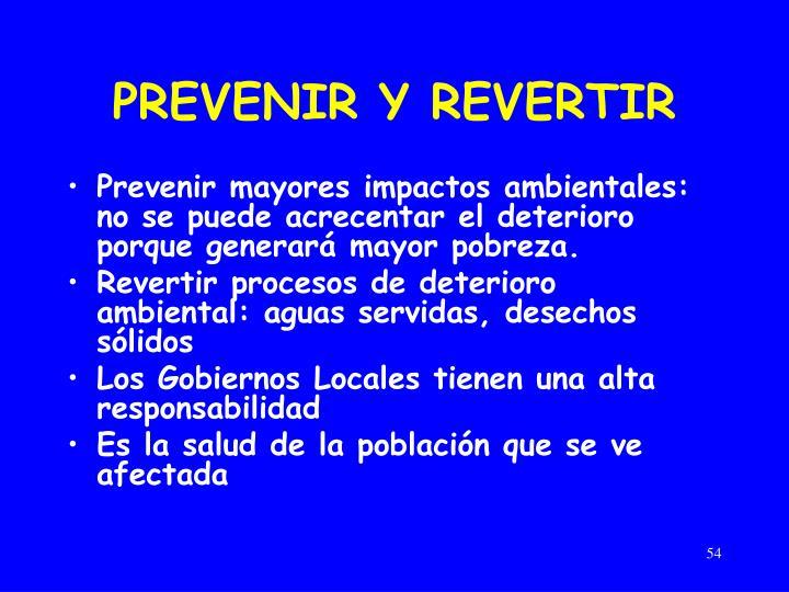 PREVENIR Y REVERTIR