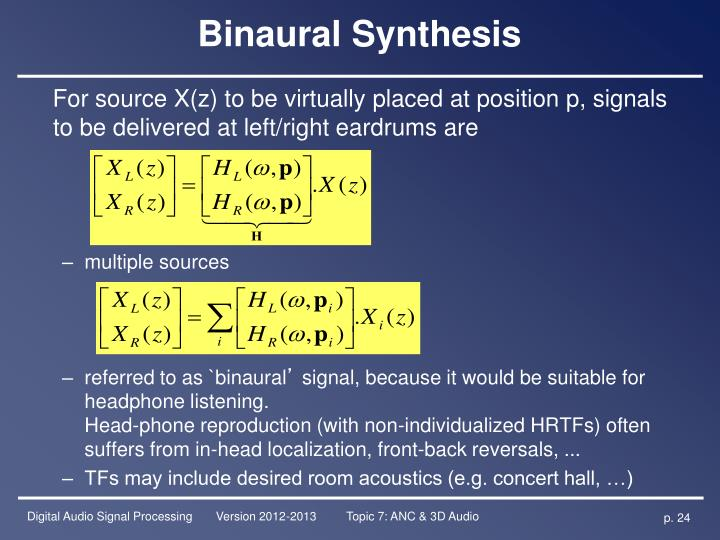 Binaural Synthesis