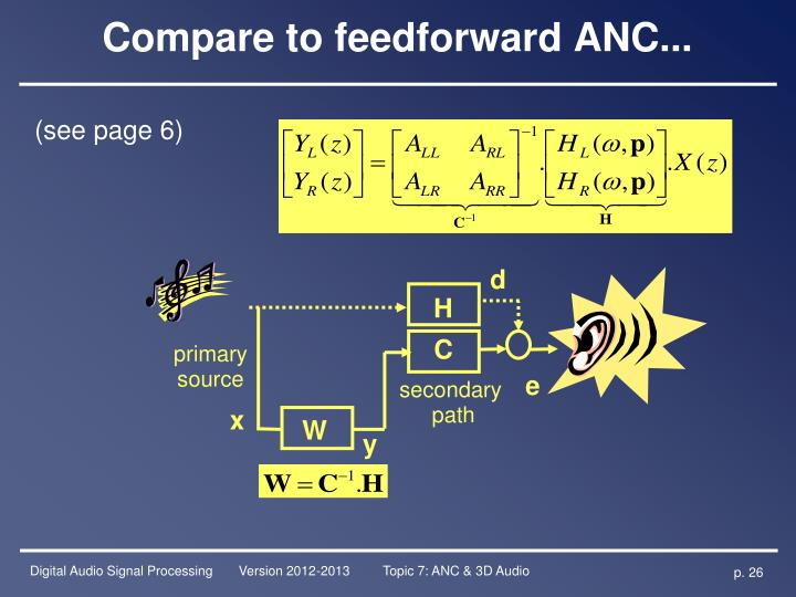 Compare to feedforward ANC...