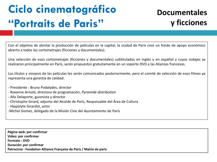 "Ciclo cinematográfico ""Portraits de Paris"""