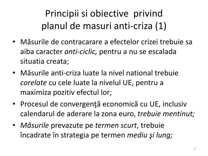 Principii si obiective  privind