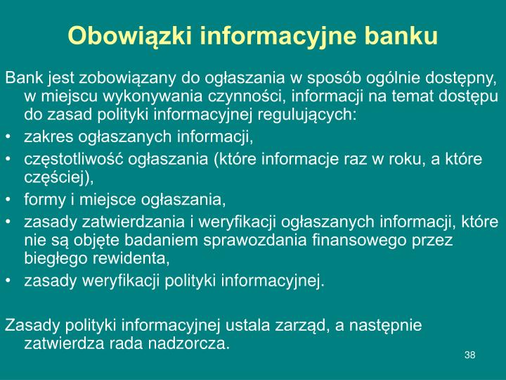 Obowiązki informacyjne banku