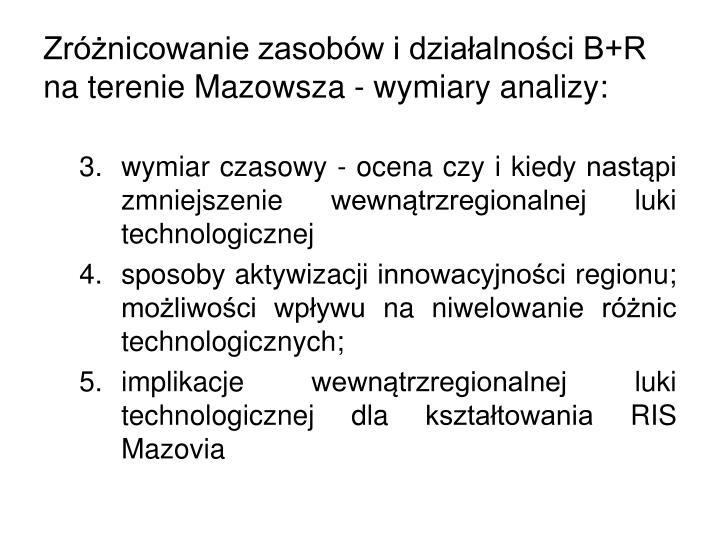 Zróżnicowanie zasobów i działalności B+R na terenie Mazowsza - wymiary analizy: