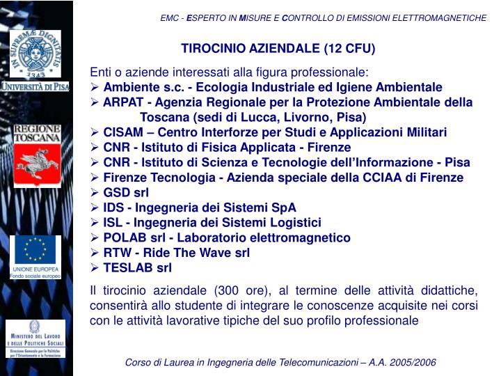 TIROCINIO AZIENDALE (12 CFU)