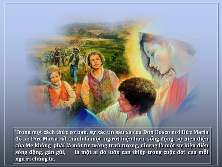 Trong mt cch thc c bn, s xc tn su xa ca Don Bosco ni c Maria  l: c Maria rt thnh l mt  ngi hin hu, sng ng; s hin din ca M khng  phi l mt t tng tr tng, nhng l mt s hin din sng ng, gn gi,     l mt ai  lun can thip trong cuc i ca mi ngi chng ta.
