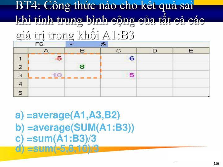 BT4: Công thức nào cho kết quả sai khi tính trung bình cộng của tất cả các giá trị trong khối A1:B3