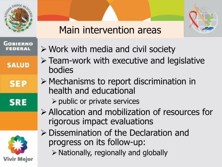 Main intervention areas