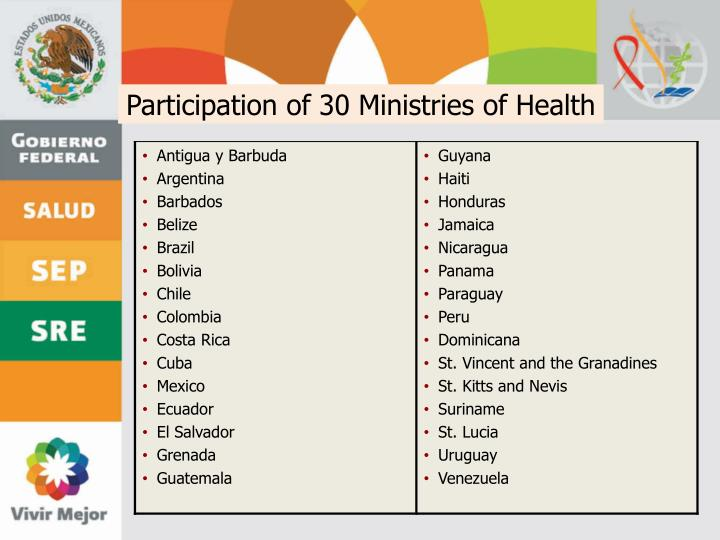 Participation of 30 Ministries of Health