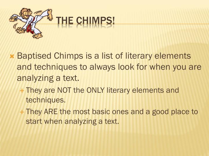 Baptised Chimps is a list of literary elements and techniques to always look for when you are analyzing a text.