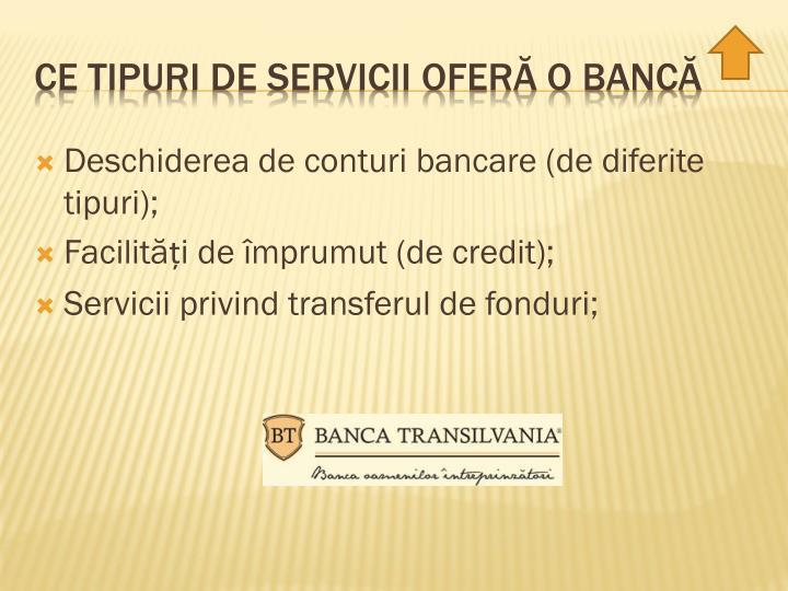 Deschiderea de conturi bancare (de diferite tipuri);
