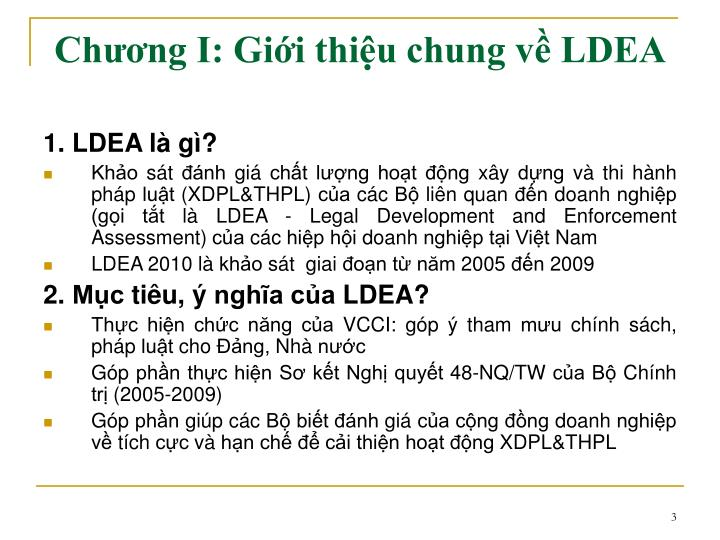 Chương I: Giới thiệu chung về LDEA