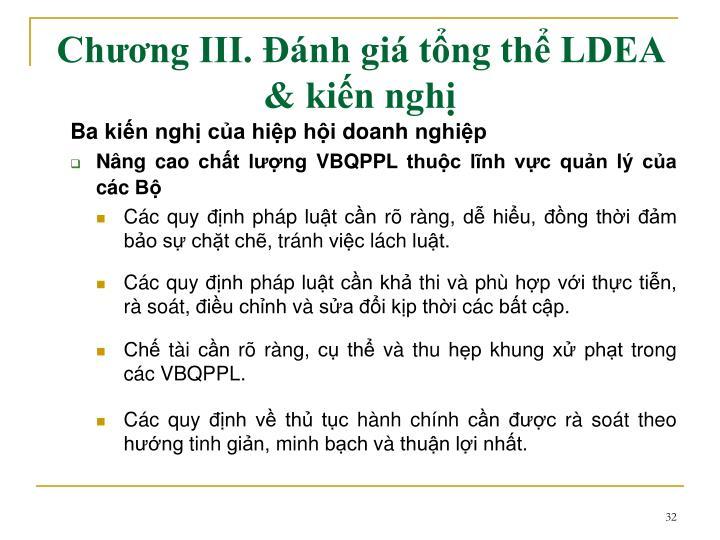 Chương III. Đánh giá tổng thể LDEA & kiến nghị