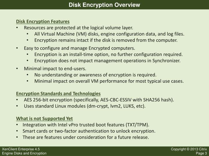 Disk encryption overview