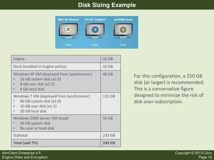 Disk Sizing Example