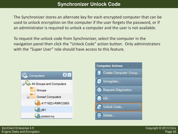 Synchronizer Unlock Code