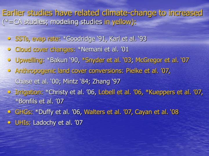 Earlier studies have related climate-change to increased